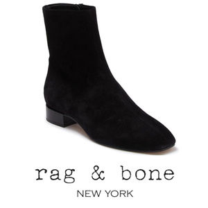 Rag & Bone Womens Black Aslen Suede Flat Boot Sz 8